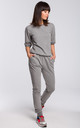 Grey Short Sleeve V-Neck Jumpsuit by MOE