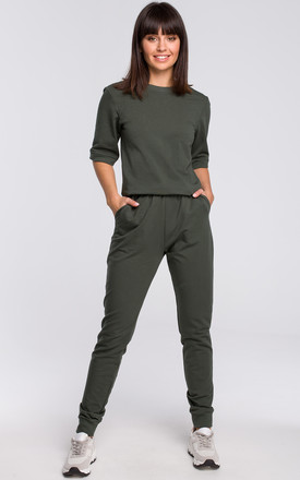 Military Green Short Sleeve V-Neck Jumpsuit by MOE