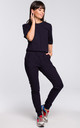 Navy Blue Short Sleeve V-Neck Jumpsuit by MOE