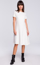 White Short Sleeve Flared Dress by MOE