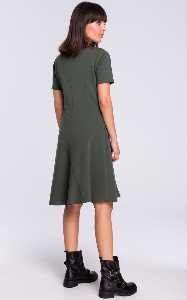 Military Green Short Sleeve Flared Dress by MOE