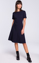 Navy Blue Short Sleeve Flared Dress by MOE