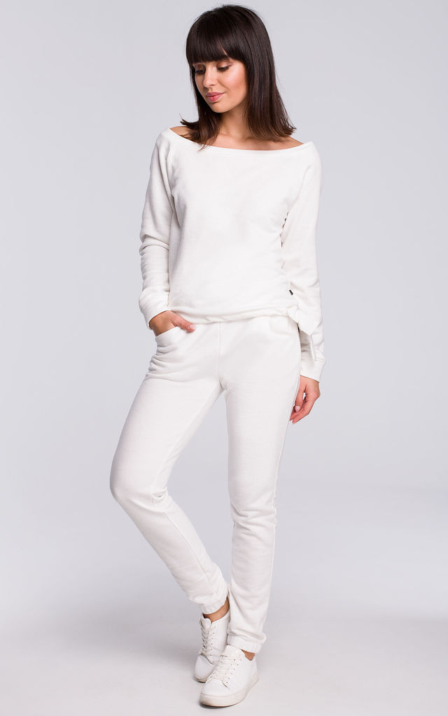White Cotton Jogger Trousers by MOE