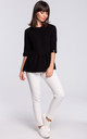 Black Short Sleeve Knitted Blouse by MOE