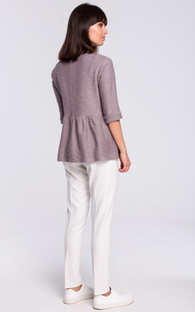 Grey Short Sleeve Knitted Blouse by MOE