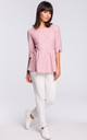 Powder Pink Short Sleeve Knitted Blouse by MOE