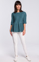Turquoise Short Sleeve Knitted Blouse by MOE