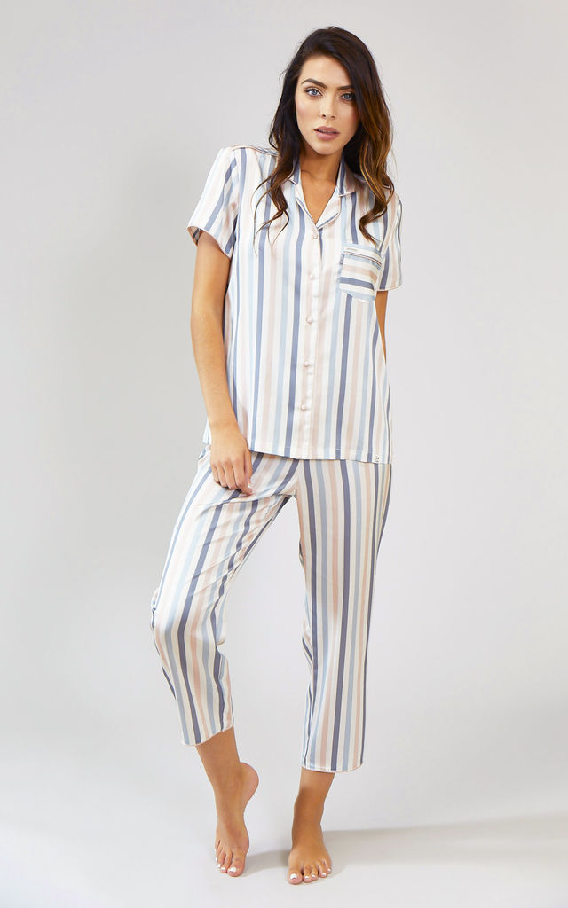 Nightwear Pyjama Shirt Top with Short Sleeves in Candy Multi Stripe by Pretty You London