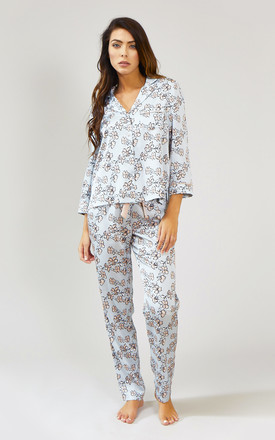 Floral Nightwear Pyjama Shirt Top in Duck Egg Blue by Pretty You London