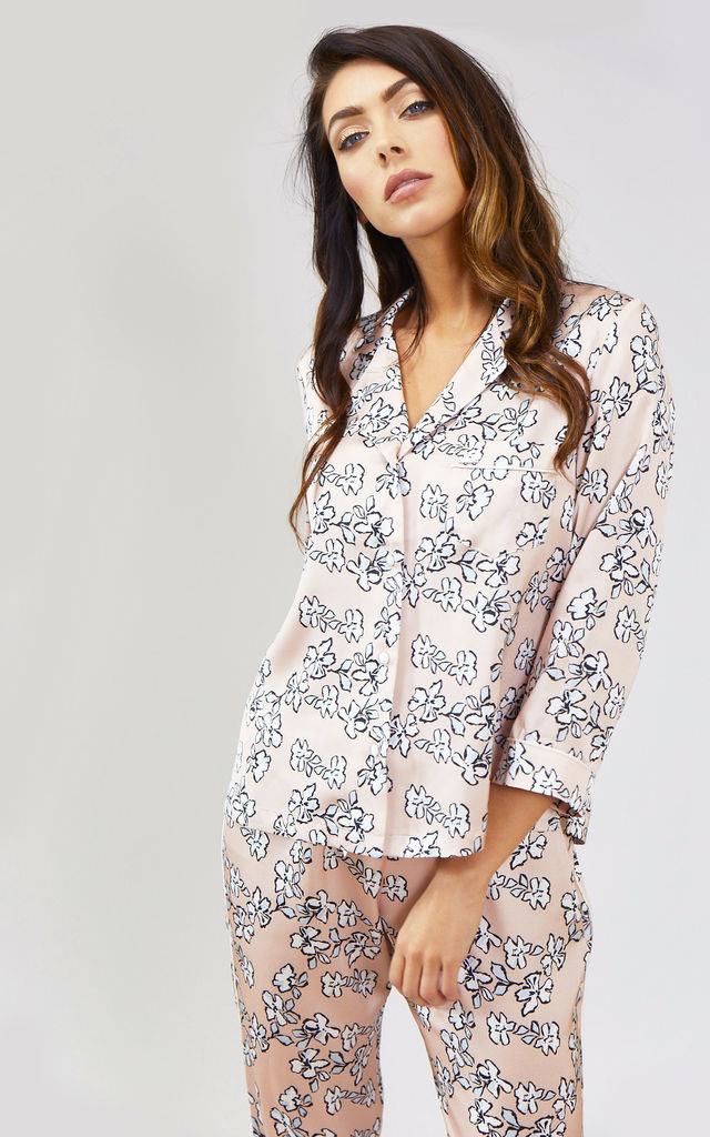 Mix and Match | Floral Nightwear Pyjama Shirt Top in Blush Pink (Shirt only) by Pretty You London