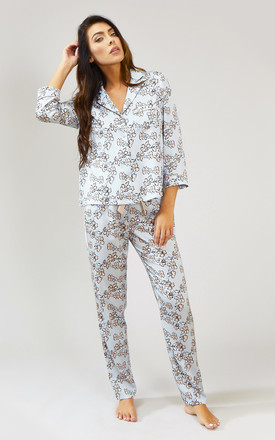 Floral Nightwear Pyjama Trouser Bottoms in Duck Egg Blue by Pretty You London