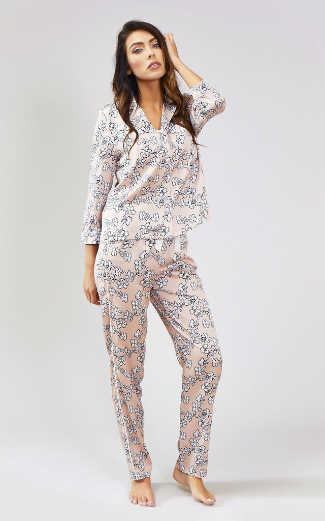 Floral Nightwear Pyjama Trouser Bottoms in Blush Pink by Pretty You London