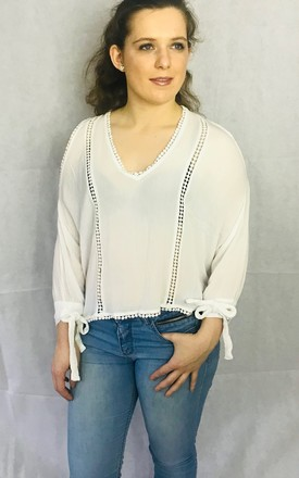 d0c6b5e63095 White Cold Shoulder Batwing Blouse With Long Sleeves
