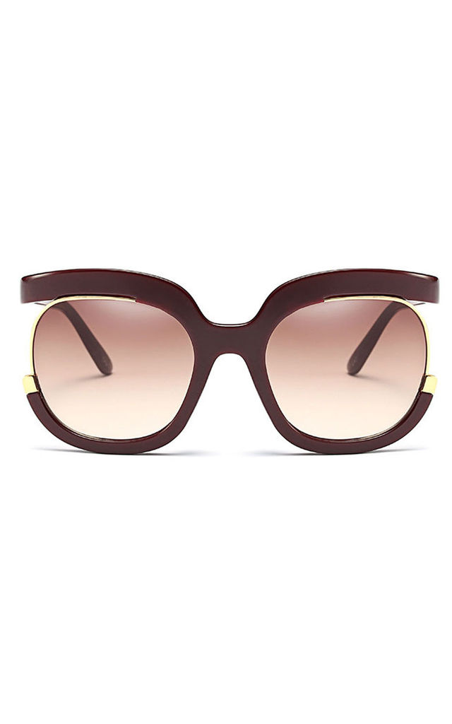 Wine Oversized Square Cut Out Gradient Sunglasses by Urban Mist
