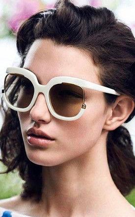White Oversized Square Cut Out Gradient Sunglasses by Urban Mist