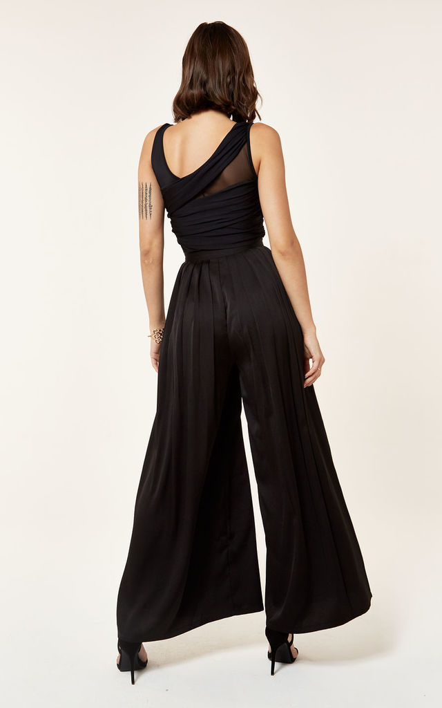 Pleated Wide Leg Chiffon Trouser in Black by The Girlcode
