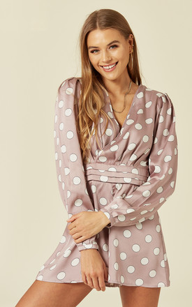 Lilac Polkadot Long sleeved Satin Playsuit by Another Look