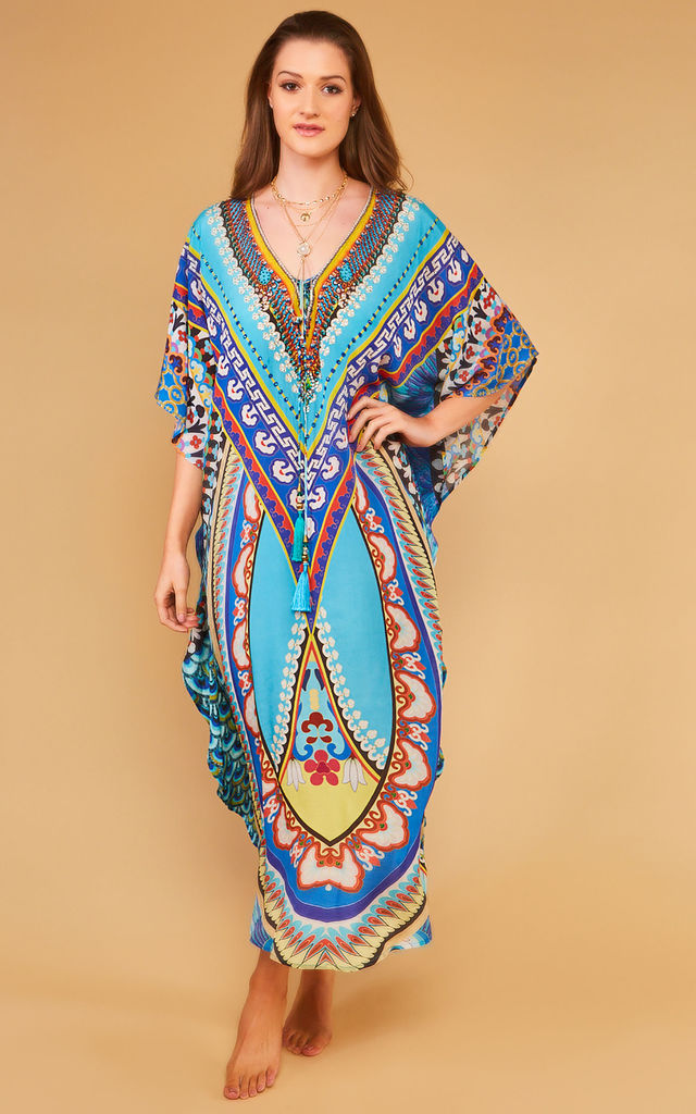 Talisa Maxi Kaftan with Mixed Colour Tassels by Kitten Beachwear