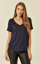 Navy v-neck blouse by Lanti