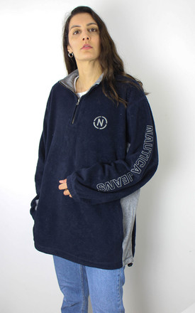 Vintage Nautica Fleece Jumper w Logo & Spell Out Sleeve by Re:dream Vintage
