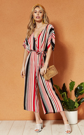 Capetown Wrap Front Tie Waist Jumpsuit In Stripe by Band Of Gypsies Product photo