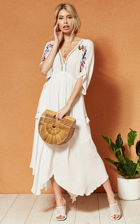 Cuba Embroidered Midi Dress In White by Band Of Gypsies Product photo