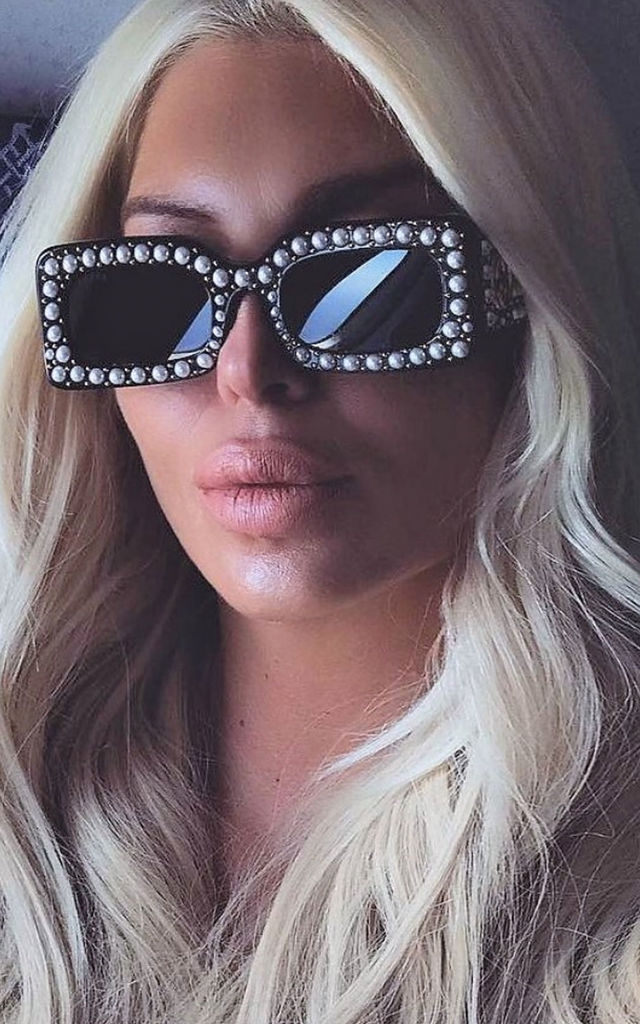 Black Pearl Detail Square Plastic Sunglasses by Urban Mist