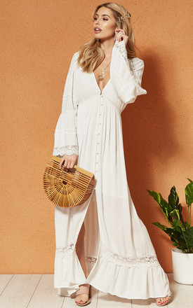 Baja Maxi Dress With Deep V Neckline And Button Front In White by Band Of Gypsies Product photo
