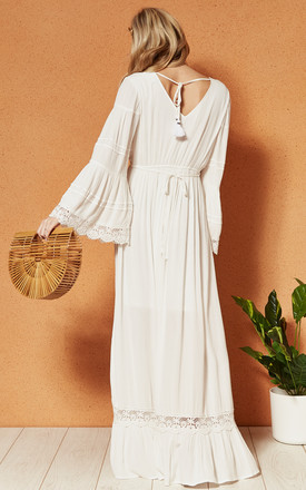 BAJA Maxi DRESS with deep v neckline and button front in white by Band Of Gypsies