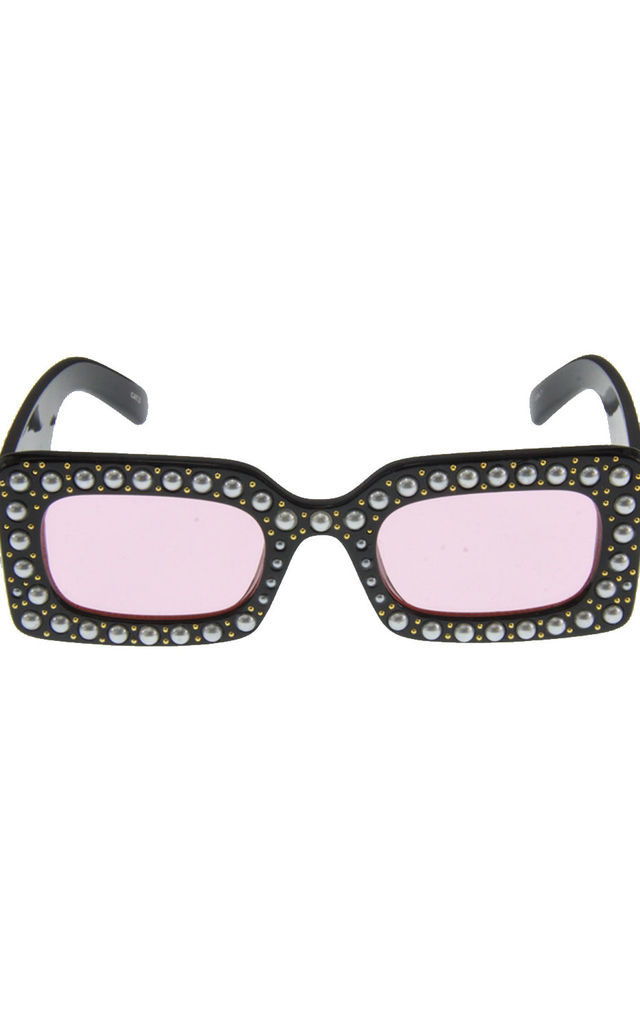 Black/Pink Pearl Detail Square Plastic Sunglasses by Urban Mist