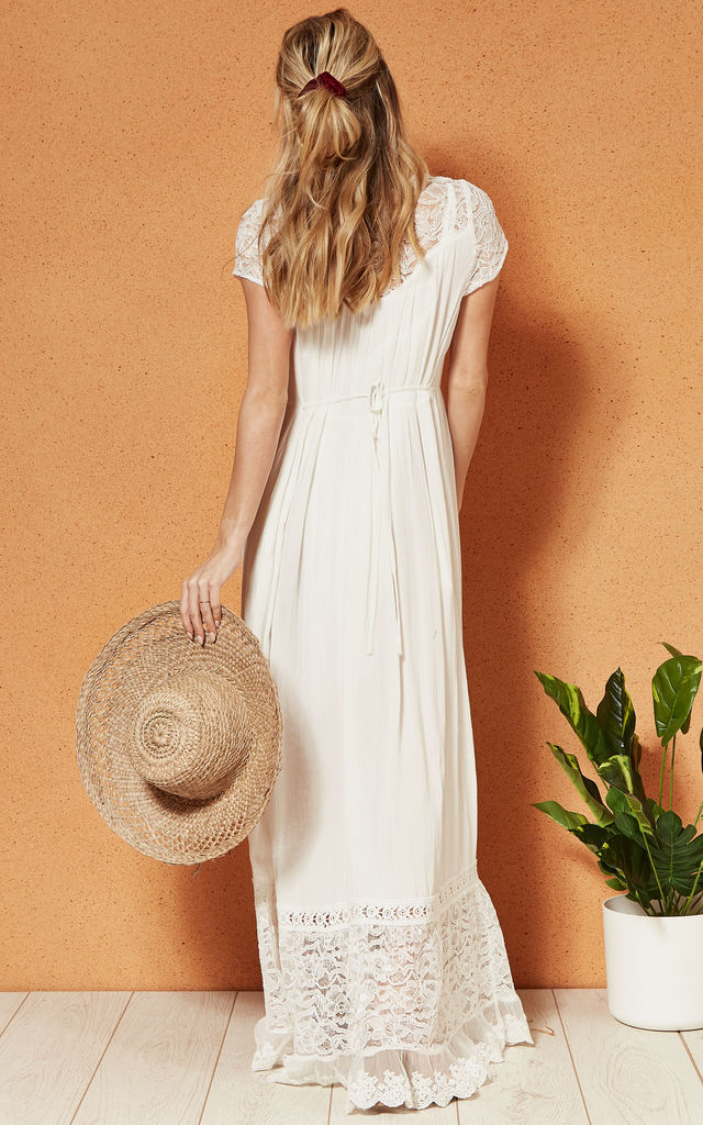 BERMUDA BUTTON DOWN maxi DRESS in white by Band Of Gypsies