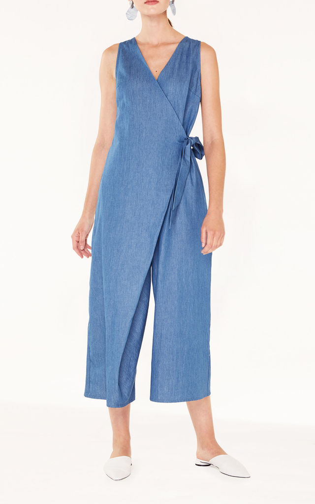 Cropped  Denim Jumpsuit with Front Overlay and Side Tie in Denim Blue by Paisie