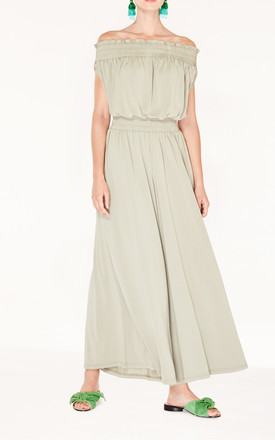 Bardot Jumpsuit with Elasticated Shoulder and Waistband  in Dusty Green by Paisie