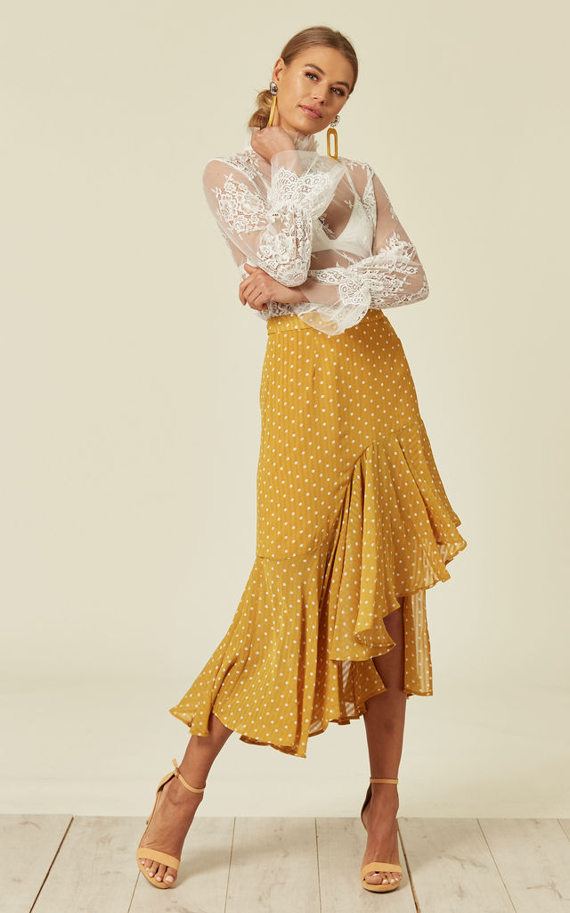 POLKA DOTS SKIRT YELLOW MUSUBI by Jovonna London