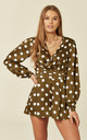 Khaki Polkadot Long sleeved Satin Playsuit by Another Look