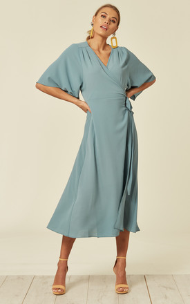 Kimono Midaxi Long Midi Wrap Dress In Sage Green by Liquorish Product photo