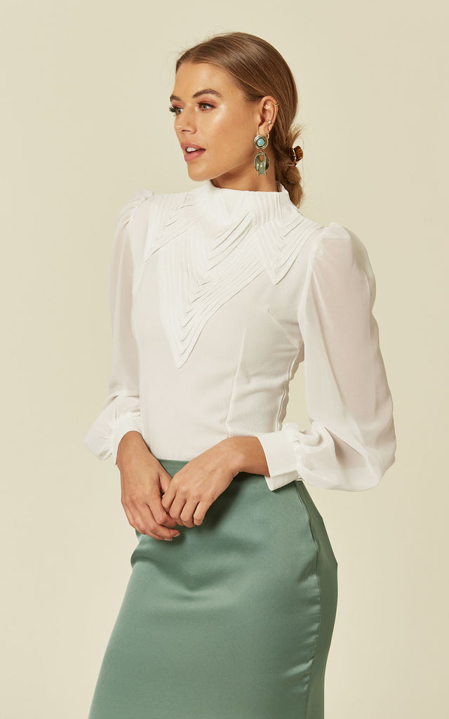 White Long Sleeve High Neck Shirt by Liquorish