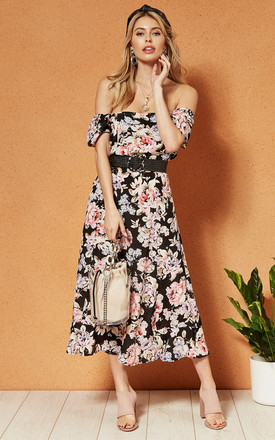 Santiago Off The Shoulder Midi Dress In Black Floral by Band Of Gypsies Product photo