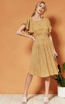 Panama Ruffle Sleeve A Line Dress In Yellow Stripe by Band Of Gypsies Product photo