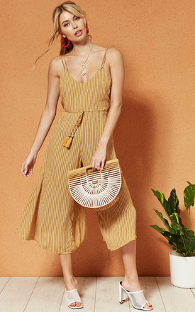 Paris Strappy Culotte Tassel Front Jumpsuit In Yellow Stripe by Band Of Gypsies Product photo