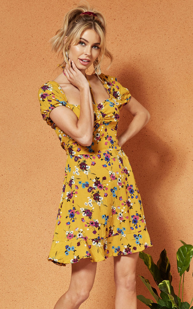 d11d1fec07386 Melbourne Ruche Front Mini Dress In Yellow Floral | Band Of Gypsies |  SilkFred