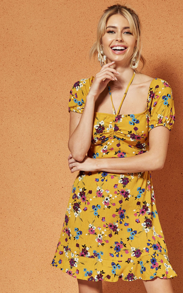 e985055c58a27 Melbourne Ruche Front Mini Dress In Yellow Floral By Band Of Gypsies