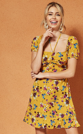Melbourne Ruche Front Mini Dress In Yellow Floral by Band Of Gypsies Product photo