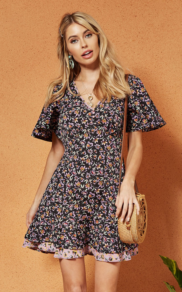 f8e7ebb15b9f Naples Skater Dress In Black Floral | Band Of Gypsies | SilkFred