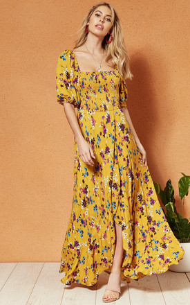 Madrid Scoop Neck Smocked Maxi Dress In Yellow Floral by Band Of Gypsies Product photo
