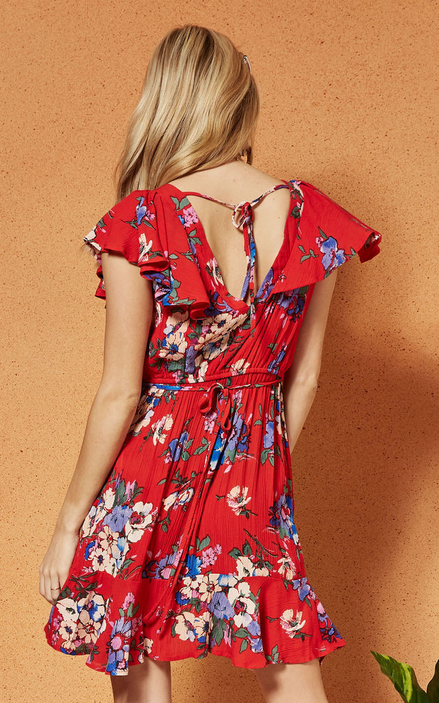 MALDIVES ruffle sleeve mini DRESS in red floral by Band Of Gypsies