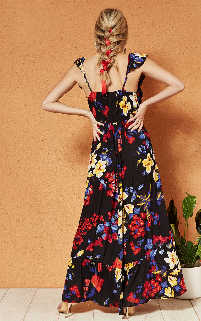 BARCELONA WRAP front maxi DRESS in BLACK Floral by Band Of Gypsies