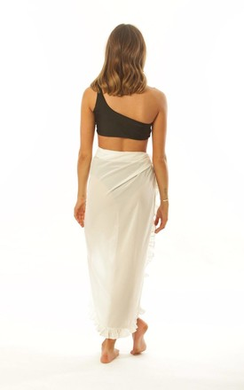 White Frill Chiffon Beach Sarong with waist tie by Get Styled UK