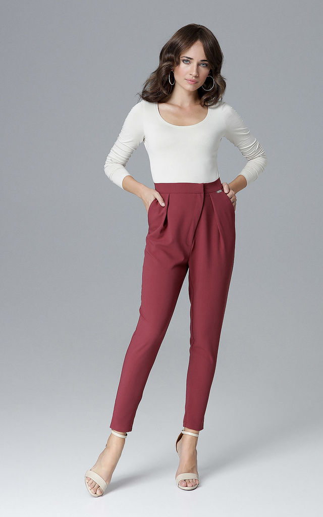 Deep Red Elegant Trousers by LENITIF