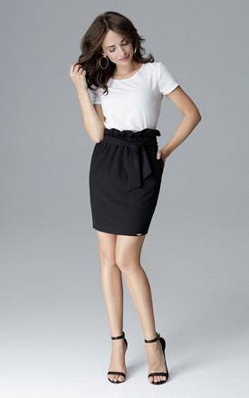 Black Effective Skirt With a Belt by LENITIF